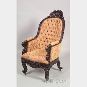 Asian Export/Colonial Carved Hardwood Bergere