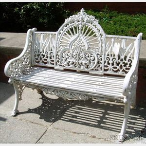 British White Painted Cast Iron Garden Seat