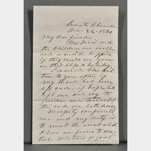 Davis, Jefferson (1808-1889) Autograph Letter Signed, 24 December 1860.