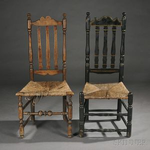 Black-painted Bannister Back Side Chair and another Chair