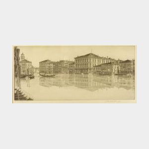 John Taylor Arms (American, 1887-1953)  Lot of Two Grand Canal Views:   Venetian Mirror