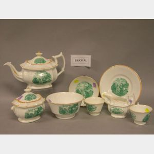 Thirty-Piece Green Scenic Transfer Decorated Porcelain Tea Set.