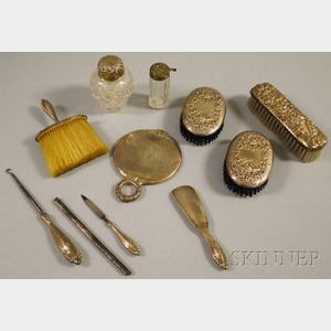 Assembled Eleven-piece Sterling Silver-mounted Dresser Set