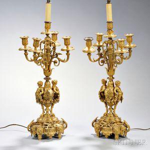 Pair of Gilt-bronze Figural Five-light Candelabra