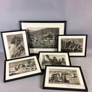 Twelve Framed Winslow Homer Prints and Ten Winslow Homer Reference Books.