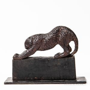 Wood Carving of a Leopard