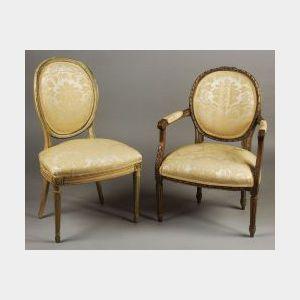Two Louis XVI Style Beechwood Chairs