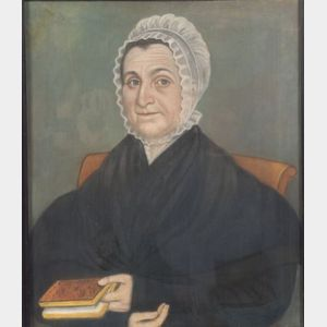 Attributed to Micah Williams (New Jersey and New York, 1782-1837)      Portrait of a Woman Holding a Book.