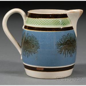 "Mochaware Jug with ""Seaweed"" Decoration"