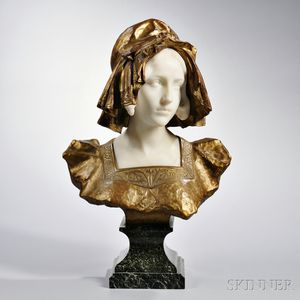 After Affortunato Gory (Italian/French, fl. 1895-1925)       Bronze and Marble Bust of a Maiden