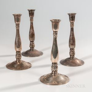 "Four International ""Royal Danish"" Pattern Sterling Silver Candlesticks"