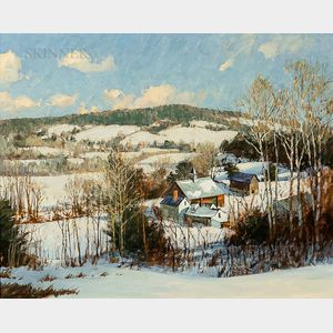 David Bareford (American, b. 1947)      New England Farm Landscape in Snow