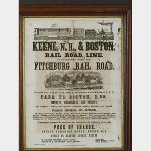 Keene & Boston Rail Road Line Broadside
