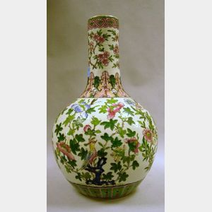 Large Chinese Export Porcelain Famille Rose Bottle Vase