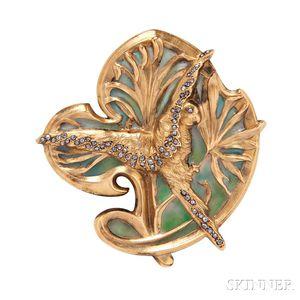 Art Nouveau 18kt Gold and Plique-a-Jour Enamel Brooch