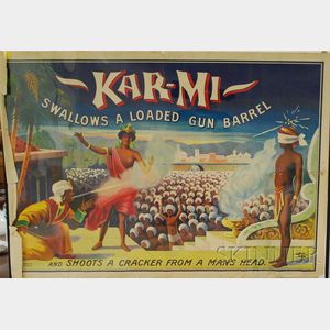 Unframed American 20th Century Color Lithograph Side Show Advertising Poster, Kar-Mi Swallows a Loaded Gun Barrel and Shoots a Crack...