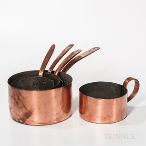 Five Varied Handled Copper Pots