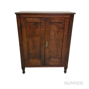 Small Country Tiger Maple Two-door Paneled Cabinet