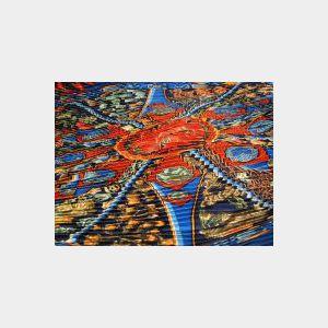 Pleated Silk Twill Scarf, Hermes