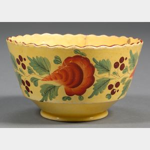 Floral Decorated Yellow Glazed Earthenware Bowl