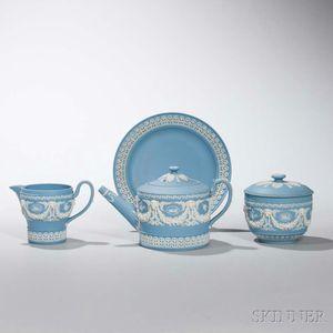 Wedgwood Solid Blue Jasper Four-piece Tea Set