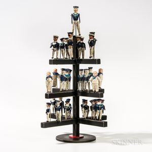 Arrangement of Thirty-three German Figurines under a Glass Dome