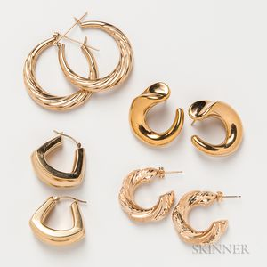 Four Pairs of 14kt Gold Earrings