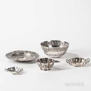 Five Pieces of  Silver Tableware