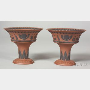 Pair of Wedgwood Egyptian Decorated Rosso Antico Vases