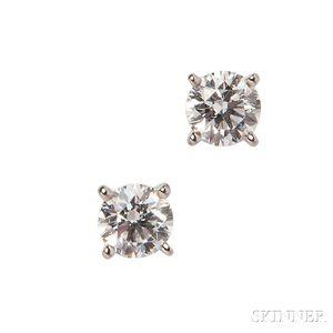 Platinum and Diamond Earstuds, Cartier