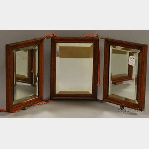 Small Late Victorian Oak Three-part Folding Mirror with Beveled Glass.