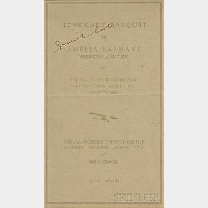 Earhart, Amelia (1897-1937) Signed Banquet Program, 28 October 1932.