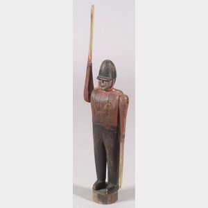 Carved and Painted Wooden Military Officer Whirligig