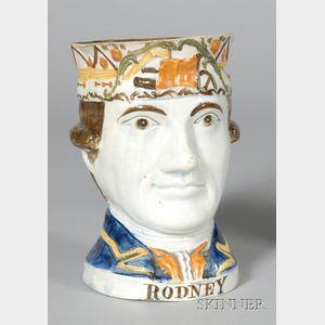 Pratt-type Pearlware Rodney Face Jug