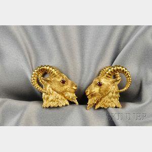 18kt Gold Ram's Head Cuff Links, Kurt Wayne