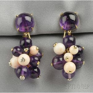 18kt Gold, Amethyst, Coral, and Diamond Earpendants