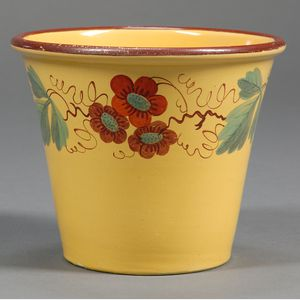 Floral Decorated Yellow Glazed Earthenware Flower Pot