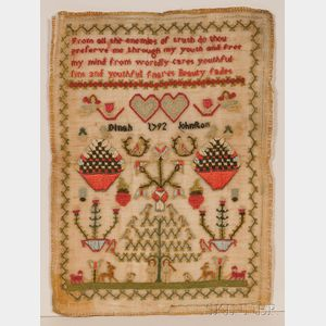 Miniature Needlework Adam and Eve Sampler