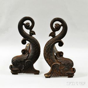Pair of Bradley & Hubbard Cast Iron Dolphin-form Andirons