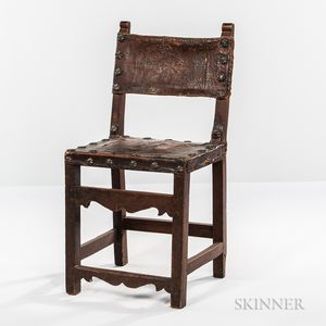 Late Renaissance Leather-upholstered Walnut Side Chair