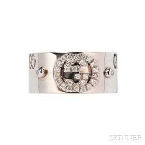 18kt White Gold and Diamond Ring, Gucci