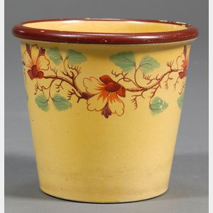 Small Yellow Glazed Earthenware Flower Pot