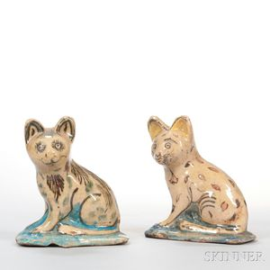 Pair of Polychrome Pottery Cats