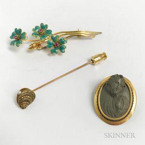 14kt Gold Oyster Stickpin, Lava Brooch, and 14kt Gold, Enamel, and Gem-set Brooch