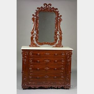 Victorian Rococo Revival Carved Mahogany and Marble-top Dressing Chest with Mirror