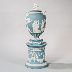 Wedgwood Pale Light Blue Jasper Pegasus Vase and Cover