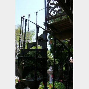 Victorian Black Painted Cast Iron Spiral Stair