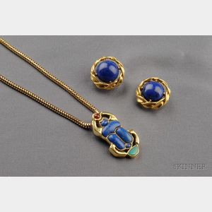 18kt Gold and Lapis Earclips, Cellino