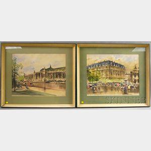 Guy de Neyrac (French, 1900-1950)    Two Paris Scenes: Place de l'Opera