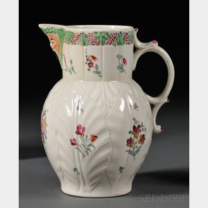 Worcester Porcelain Cabbage Leaf and Mask Jug